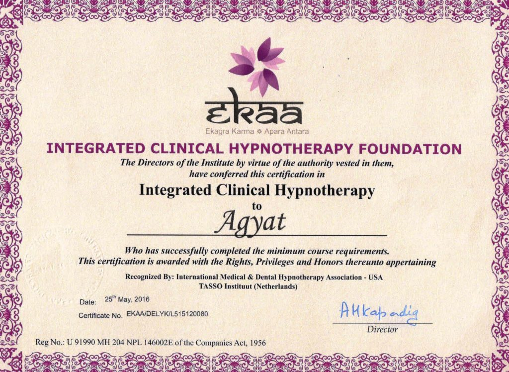 Ekaa - Hypnotherapy Certficate